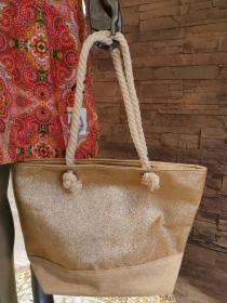 Beach-Poolbag Glitzereffekt gold
