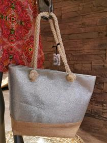 Beach-Poolbag Glitzereffekt silver