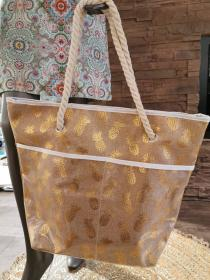Beach-Poolbag Golden Pineapple brown